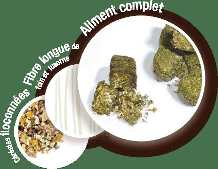 composition du waferfioc fibre longue foin et luserne, céréales floconnées cuisson vapeur