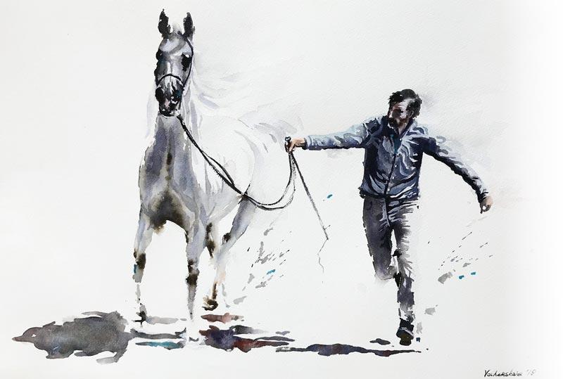 illustration aquarelle cheval au galop WaferFioc